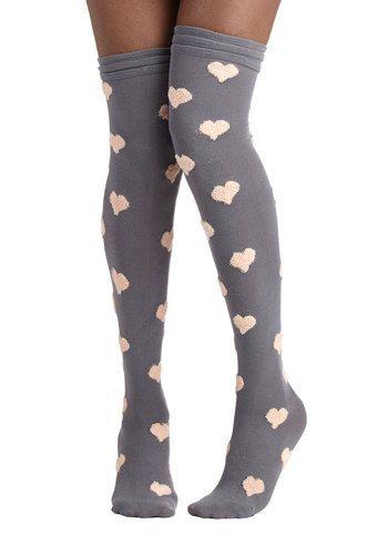Betsey Johnson Warm, Fuzzy Feelings Socks in Grey by Betsey Johnson - Grey, Tan / Cream, Better, Variation, Knit, Novelty Print