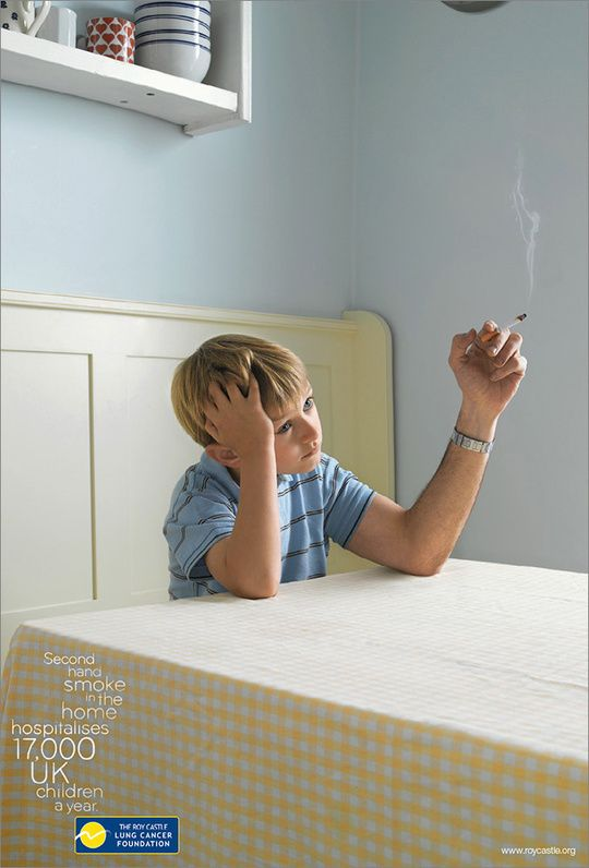 The ad can be considered shock advertisement because of a young boy shown with a cigarette but I believe it can be effective saying that second hand smoke can be just as deadly as smoking. Showing a young boy could make think about those around them such as their children when smoking.