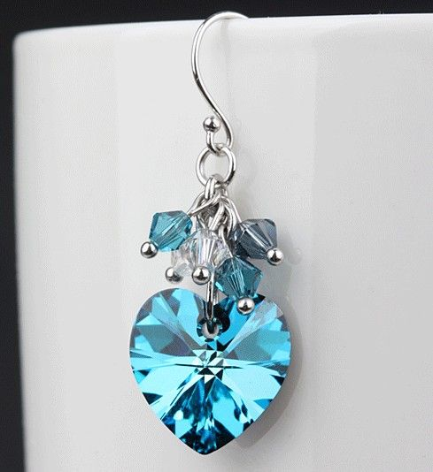 Handmade Crystal Earrings | Handmade Crystal Charming Earrings - Blue Sea Handmade Korean Crystal ...