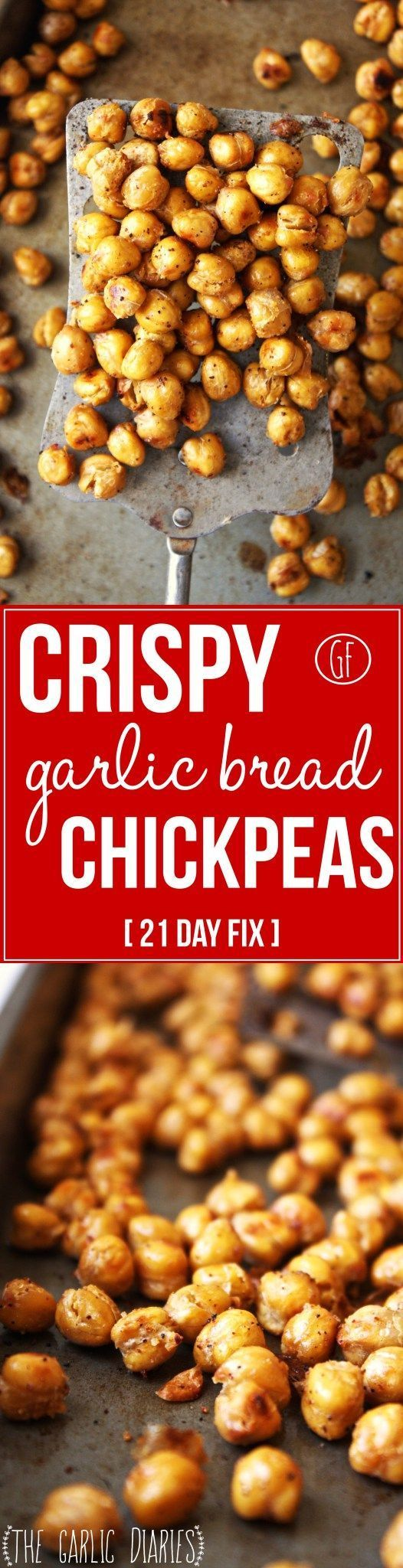 Crispy Garlic Bread Chickpeas [21 Day Fix] - Craving that salty, crunchy snack but don't want to fill your body with unhealthy, processed food? Look no further! These crunchy roasted chickpeas will satisfy any craving. Gluten free