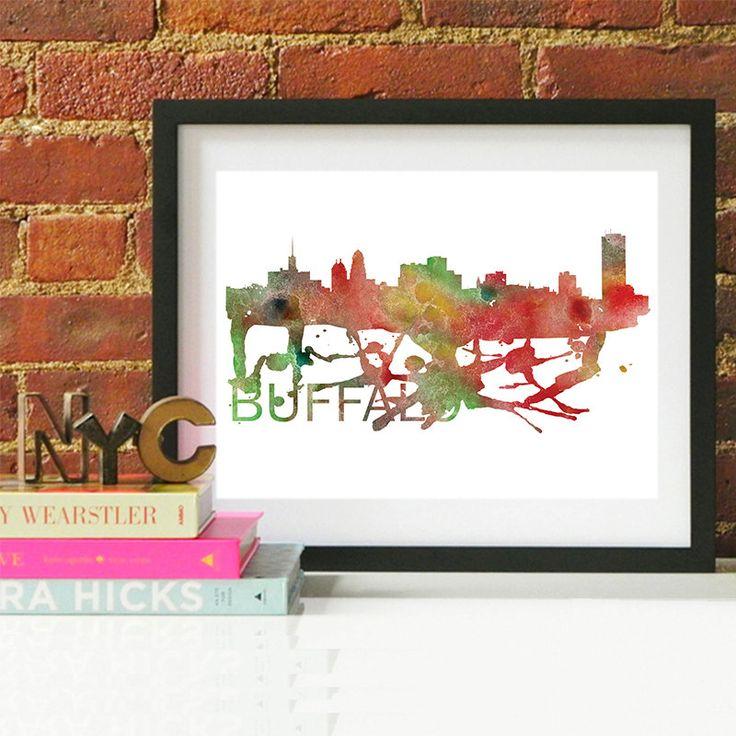 15.00$ - Buffalo Art, Buffalo Skyline, Buffalo map, Buffalo wall art, Buffalo map print