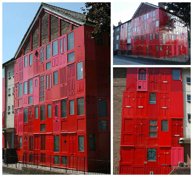red house with salvaged doors in liverpool red houses. Black Bedroom Furniture Sets. Home Design Ideas