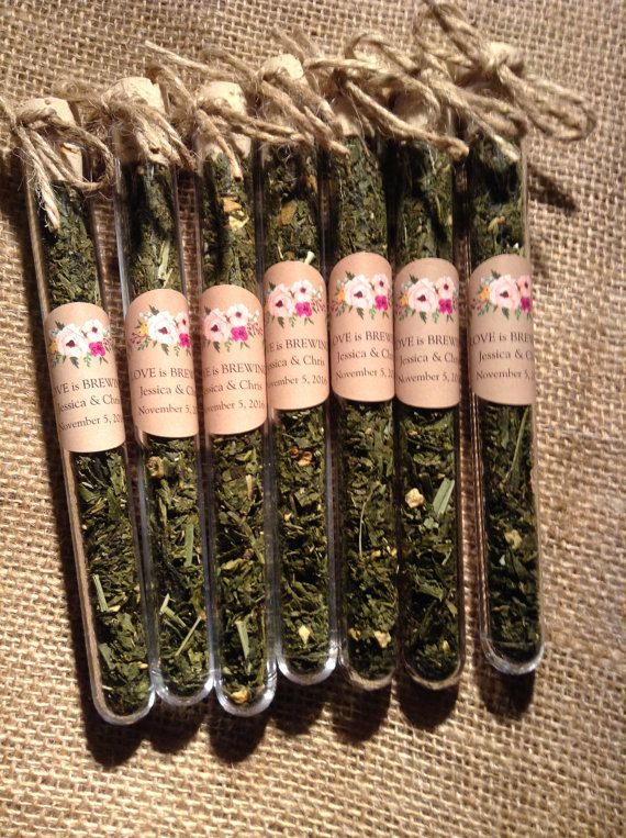 Beautiful favours for a wedding!  Each 6 inch test tube is made of food grade glass like plastic with a cork stopper.  This listing is for 20 test tubes .  They come ready assembled with a personalised sticker as seen, we have other tags available or if you want something bespoke please discuss your requirements with us.  Choose from the list of teas below Teas - for a more detailed description of the tea and ingredients please see our individual teas for sale.  - Sencha Lemon Ginger Loose…