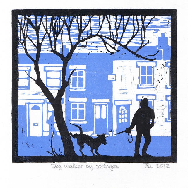 Dog Walker by Cottages - Folksy Lino cut (nice example for two colour print)