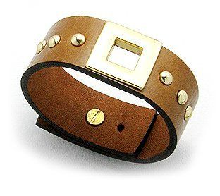Genuine Brown Leather Bracelet with Designer Details: Gold Square and Studded Accents, Fits 7 to 8 Inch Wrists Beautiful Silver Jewelry. $37.95. Variable Sizing from 7 to 8 Inches With Movable Peg. Brown Leather Cuff Bracelet. Golden Square Detail On Top With Round Studs. For Men and Women, Fits 7 to 8 Inch Wrists