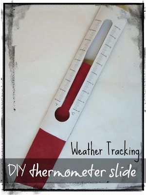 Kids can track the weather for five days with a free printable recording sheet and this handy thermometer slide (made from two paper towel tubes).