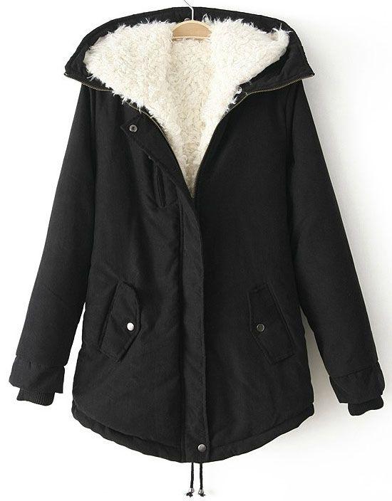 手机壳定制cheap hobo bags Black Hooded Long Sleeve Drawstring Parka  Sheinside com