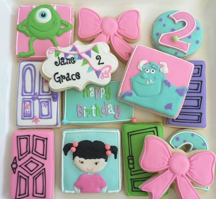 Monsters inc cookies   Boo cookies  Mike Wazowski cookies Birthday cookies