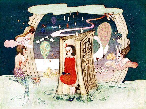 fantasy, book, reading, illust