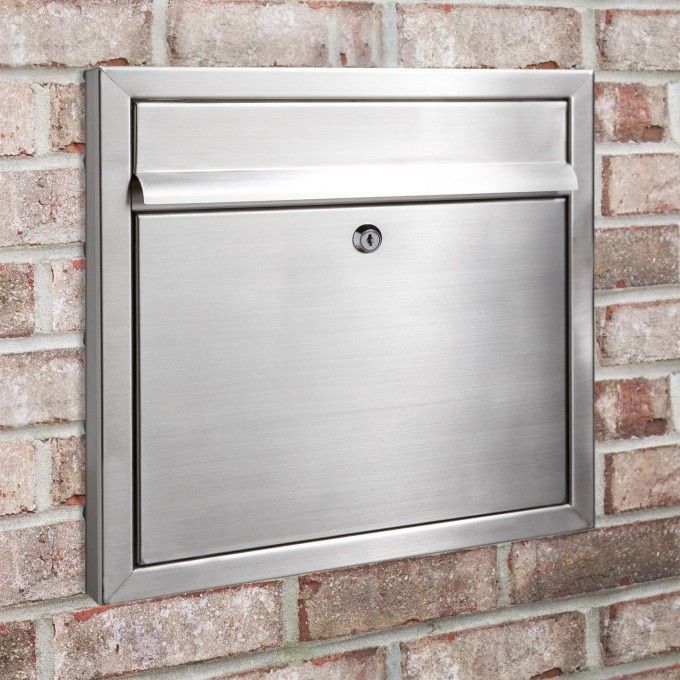 Rectangular Locking Recessed Brushed Stainless Steel Mailbox - Outdoor