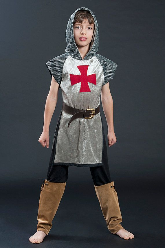 knight costume, medieval outfit, worrior tunic with booted pants, original gift for boys, halloween knight, king Arthur