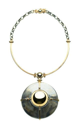 18 K Gold & Patinated Silver Pendant With Diamond Globe And Satellites by ELIE TOP for Preorder on Moda Operandi
