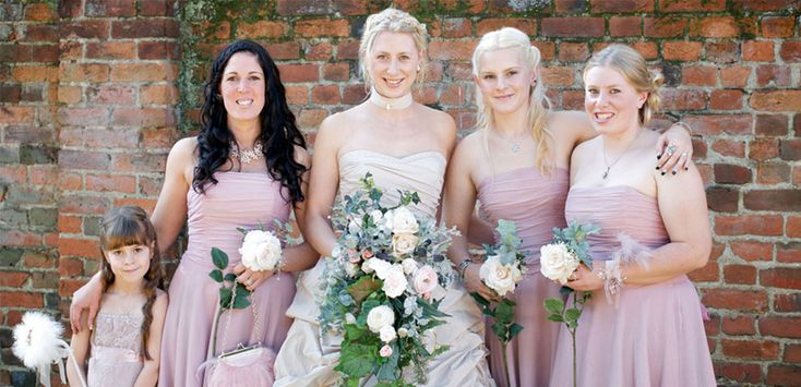 The bridesmaids wore strapless pink chiffon dresses from Monsoon #wedding #weddingvenues #weddingdress #summer