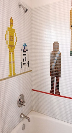 Star Wars Shower Tile. Yes please! For our boys bathroom. But maybe