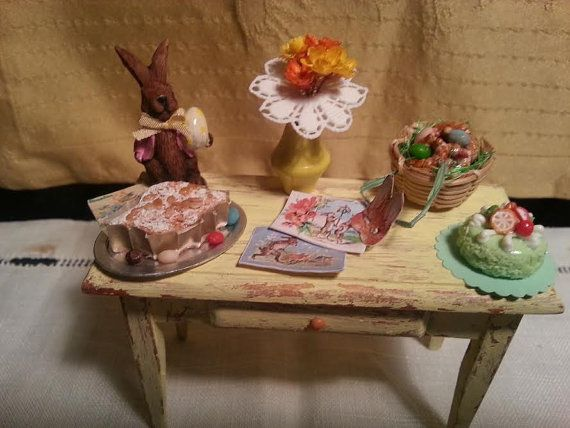 Table  shabby   Easter  dollhouse  1:12 scale by LaboratoriodiManu