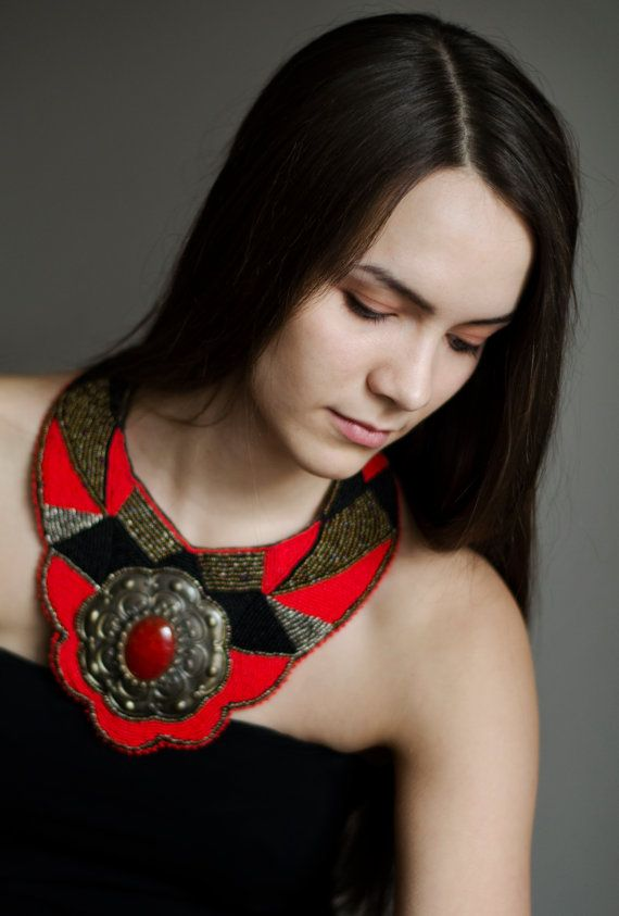 Red and black collar, chunky bold necklace, statement bib necklace, extra large tribal necklace, beaded massive necklace, boho fashion  Massive red and black exotic beadwork necklace - collar. Necklace was made using black, red, grey colors beads and couple of tones dark gold seed