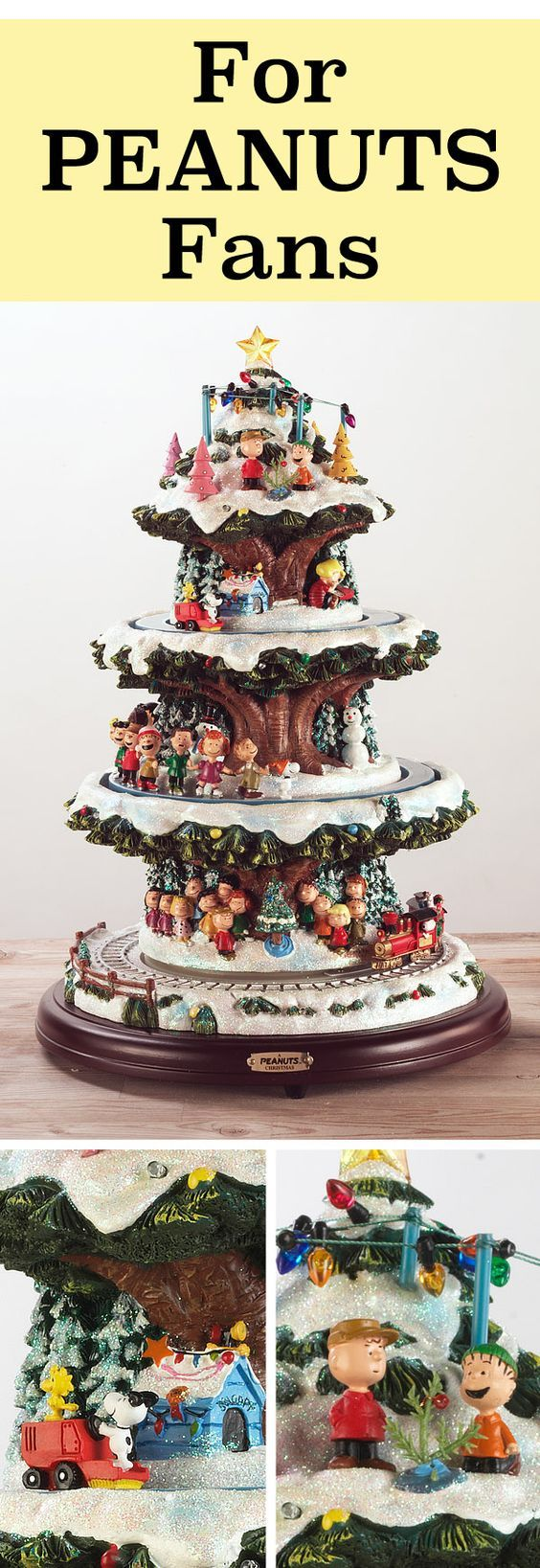 Celebrate the holidays with Charlie Brown, Snoopy and all your favorite PEANUTS characters in this Christmas tabletop tree. Features multiple levels of unique lights, motion and music directly from the classic soundtrack by Vince Guaraldi and Lee Mendelson.
