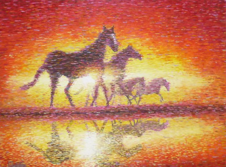 impressionistic horse painting by Chris Quinlan Art