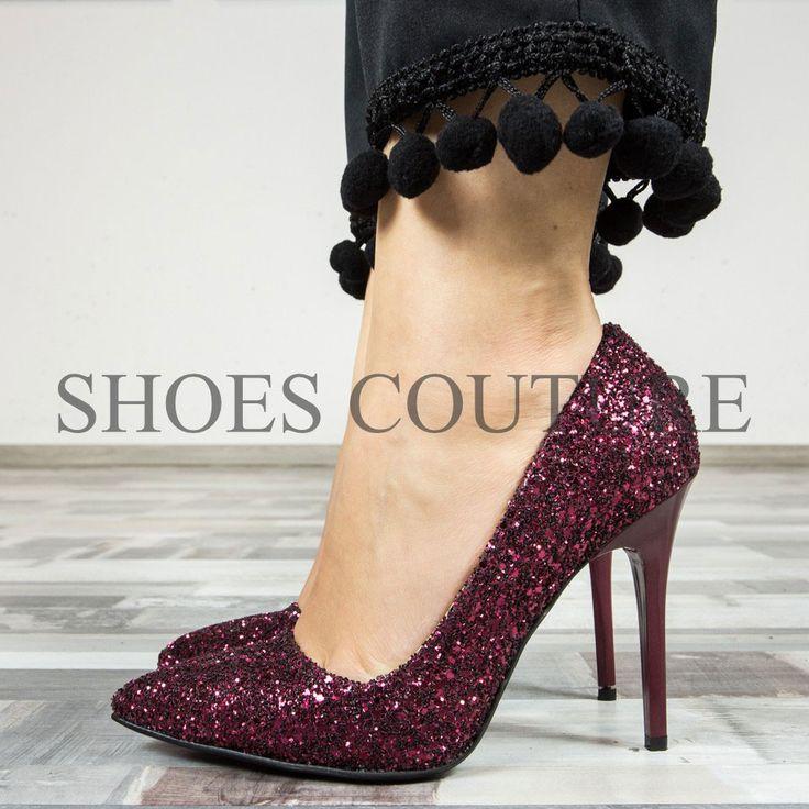 pantofi cu toc burgundy