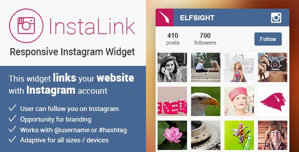 InstaLink FeaturesWidget includesImages from Instagram username or hashtagProfile info (profile picture, images and quantity of followers)Button followed to your Instagram profile pageDesign