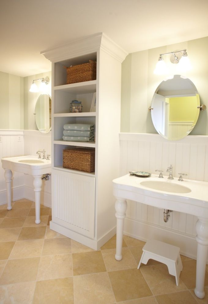 Beaded board, stripes and sinks...Possibly a vintage or antique piece instead of the center built-in.