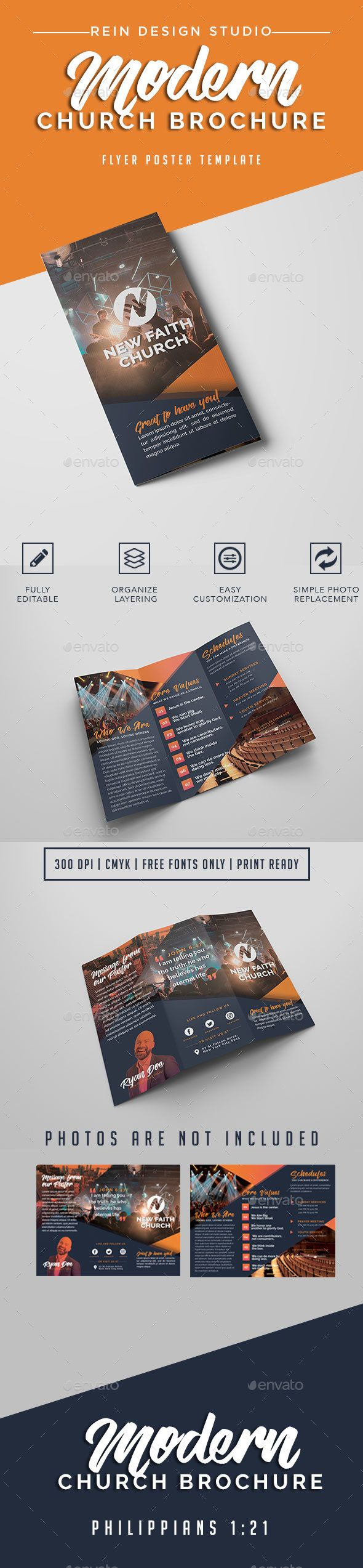 Modern Church Brochure - Brochures Print Templates