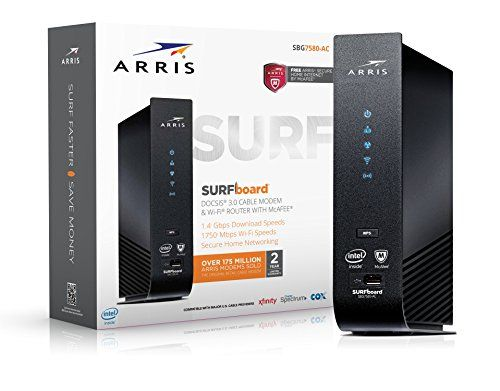 ARRIS SURFboard SBG7580AC-McAfee DOCSIS 3.0 Cable Modem / AC1750 Wi-Fi Router with FREE Secure Home Internet by McAfee - Retail Packaging, Black - The Surfboard SBG7580AC is a DOCSIS 3.0 32x8 cable modem, AC1750 Dual Band Concurrent Wi-Fi Access Point and 4-Port Gigabit Ethernet Router, all wrapped up in one device. Plus it features ARRIS Secure Home Internet by McAfee, keeping all devices on your network safe and secure from online threats...
