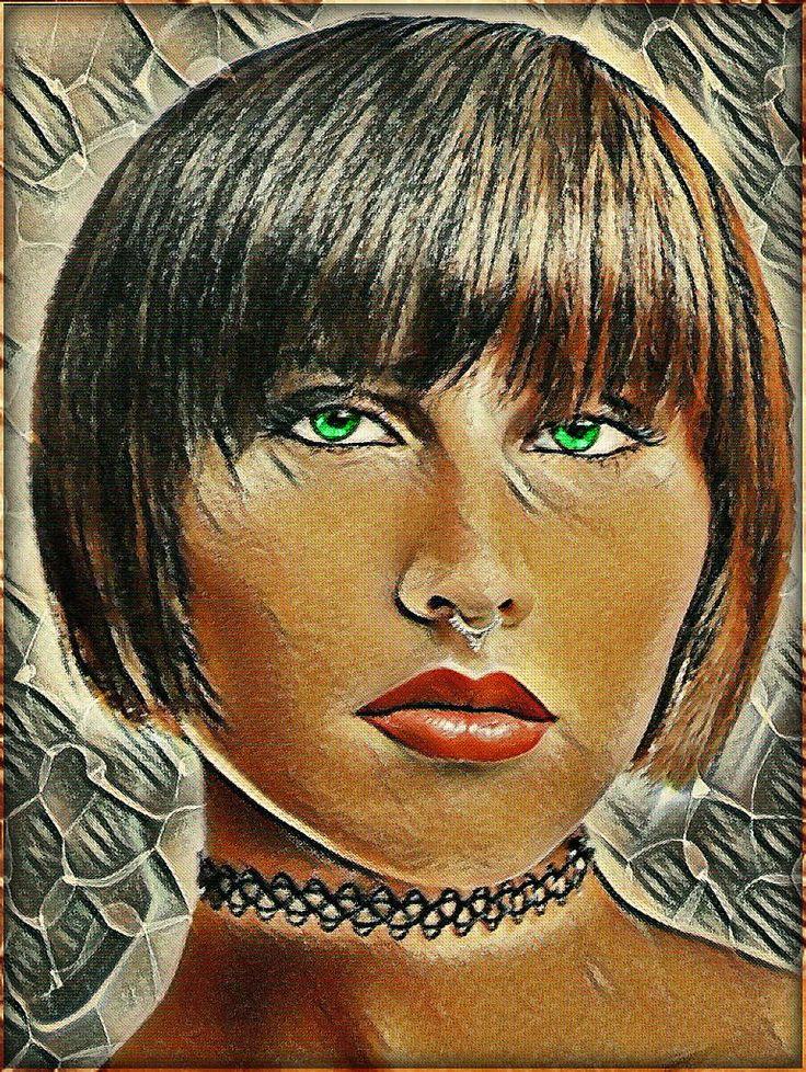 """https://flic.kr/p/QiL2Qu   Befana by Anto e Picasso :-)))!   Tutti pensano alla Befana come che sia una vecchietta con la gobba; io la immagino così: una ragazza moderna con il piercing al naso e gli occhi verdi:-))))!! E' la prima volta che provo questa elaborazione """"alla """"Picasso"""", spero vi piaccia!"""