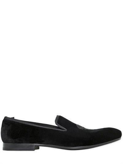Alexander McQueen Beaded Skull Velvet Loafers on shopstyle.com
