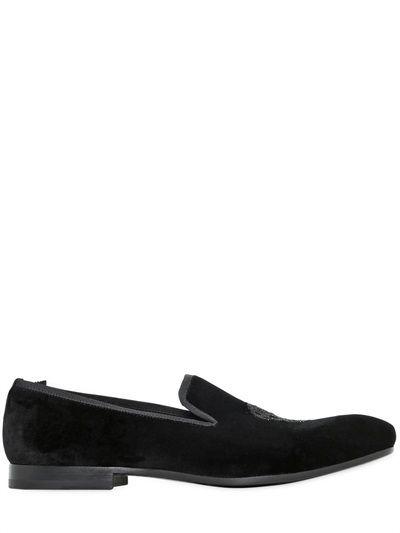 Alexander McQueen Beaded Skull Velvet Loafers on shopstyle.com