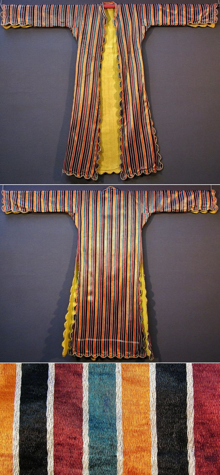 Front and rear of a silk 'üçetek' (robe-with-three-panels) from northwestern Anatolia, ca. 1925-1950.  The silk fabric was probably woven in Bursa; the garment is lined with yellow cotton, and edged with 'golden' metallic braid.  (Inv.n° üçe032  - Kavak Costume Collection - Antwerpen/Belgium).