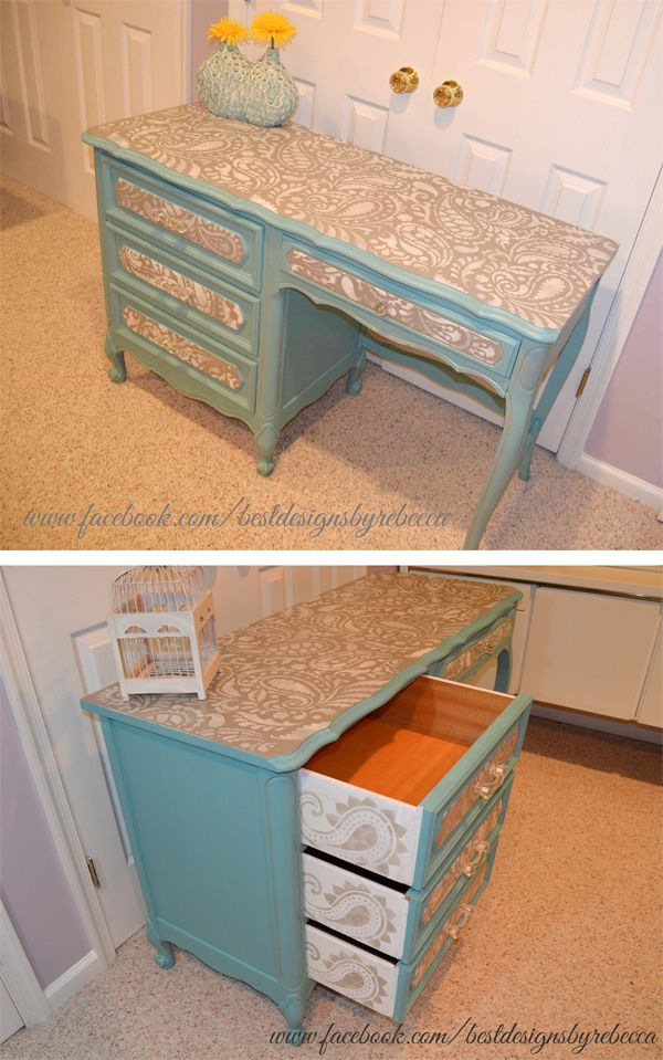 A DIY stenciled desk using the Paisley Allover Stencil. http://www.cuttingedgestencils.com/paisley-allover-stencil.html
