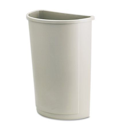 Rubbermaid Commercial Untouchable Waste Container, Half-Round, Plastic, 21gal, Beige