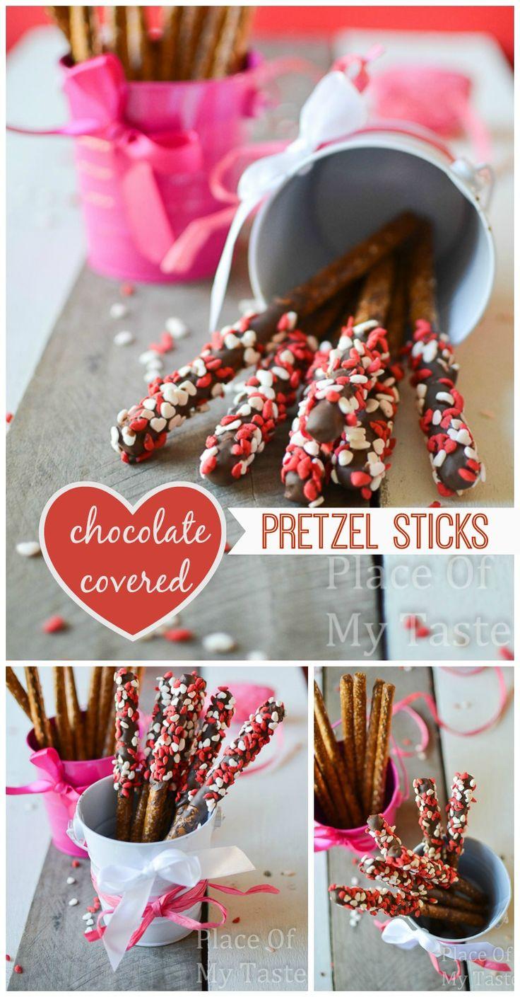 Chocolate covered pretzel sticks{ Valentine's Day gift}