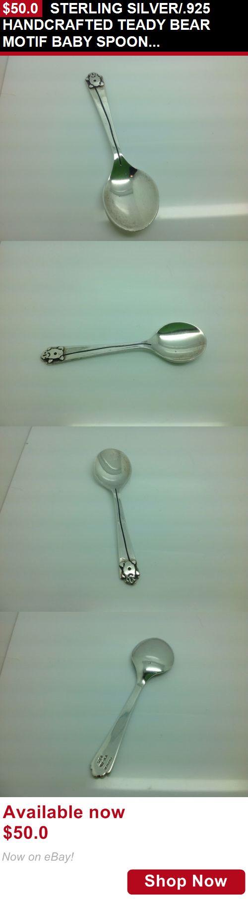 Baby Utensils: Sterling Silver/.925 Handcrafted Teady Bear Motif Baby Spoon-Keepsake BUY IT NOW ONLY: $50.0
