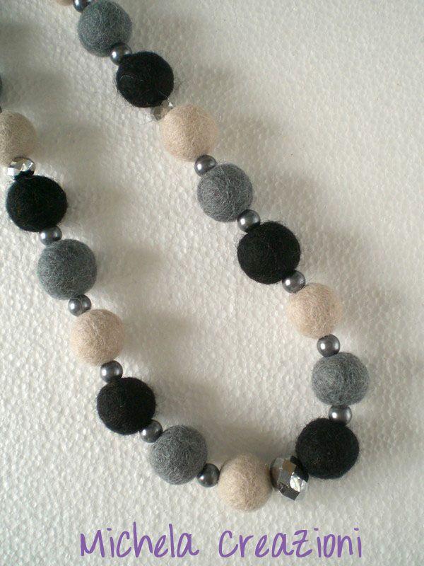 Black and grey felt balls necklace