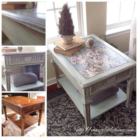 A $10 table...upcycled with decoupage and Annie Sloan Chalk Paints (combination of Old White, Duck Egg Blue and French Linen). #paintedfurniture #chalkpaint