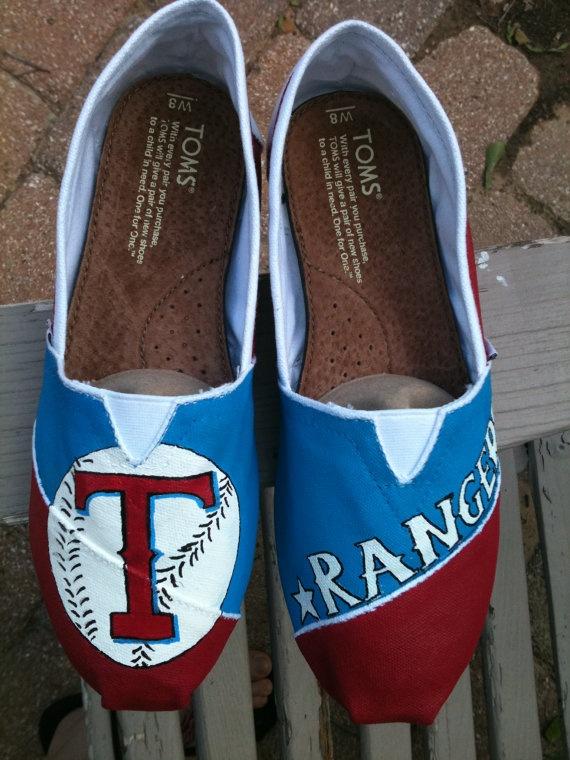 Team Spirit hand painted on TOMS shoes, Texas Rangers, College football, school spirit