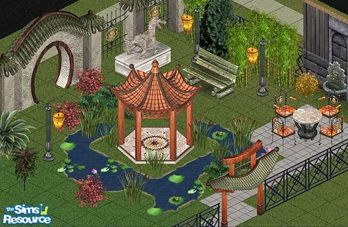 Includes: Bench, Chair, Lamp, Sink, Table, Gates(2), Pagoda, Statue, Fence  Found in TSR Category 'Miscellaneous'