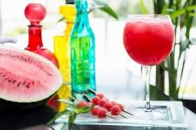 INGREDIENTS 1 shot rum 1 shot vodka 1/2 cup frozen watermelon pieces 1/2 cup fresh watermelon pieces 1/2 cup ice cubes 1 cup apple juice 1/2 cup coconut water DIRECTIONS Place the rum, vodka, watermelon, ice cubes, juice and coconut water into the large personal blending jug; securely seal the blade assembly inside the blending jug. Lock the blendi...