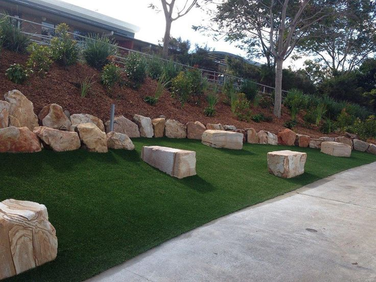School walkway - artificial grass looks great and is durable.