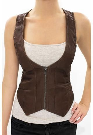 ZIP FRONT VEST; Bo from Lost Girl  would love it even more in black