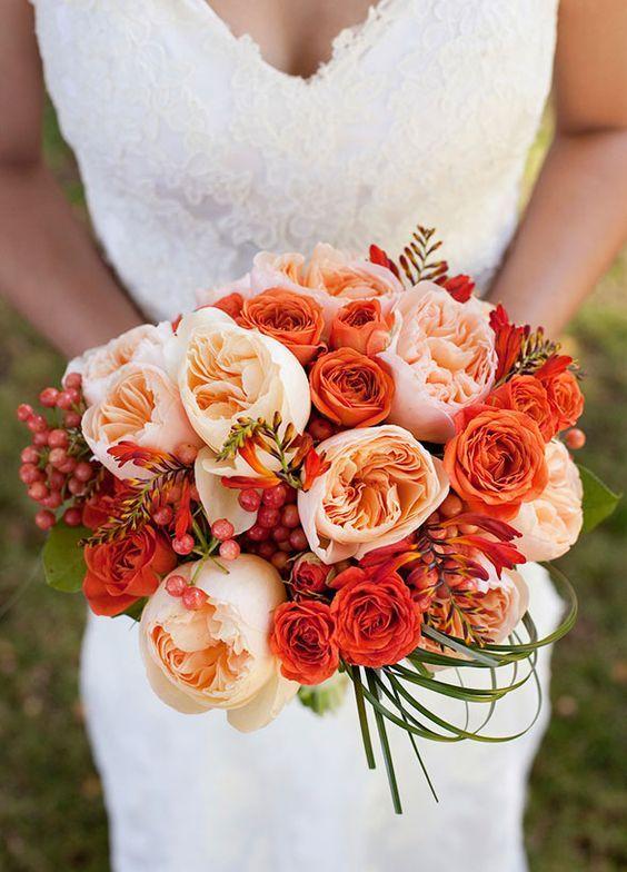 Живые, рыжие букеты для невесты фото 2016