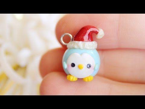 Kawaii Christmas Penguin polymer clay charm tutorial