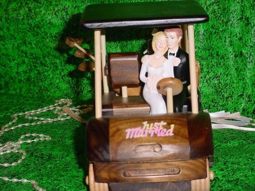 Golf Themed Just Married Wood Golf Cart Wedding Cake