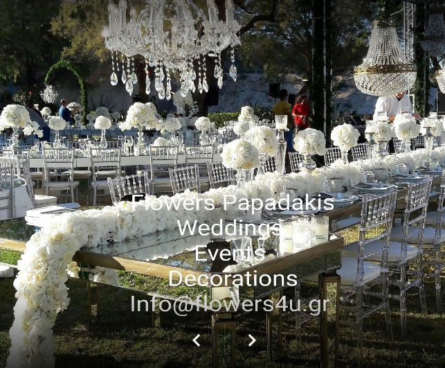 Flowers Papadakis  Weddings Events Decorations  Info@flowers4u.gr   Roses baskets bouquets arrangements for all occasions of your life! tel 00302109426971 Fax 00302109480358 https://plus.google.com/+flowerspapadakis  https://gr.pinterest.com/flowers4ugr https://www.instagram.com/flowerspapadakis https://www.facebook.com/flowers.papadakis https://www.facebook.com/flowers4u.gr http://flowers4ugr.blogspot.gr/ www.flowers4u.gr