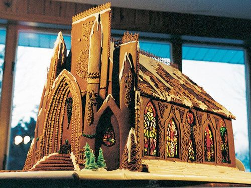 Gingerbread Cathedral--complete with Jolly Rancher stained glass windows
