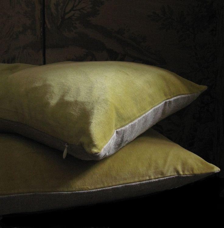 Cuscini in velluto bicolore