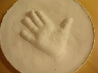 How to make raised plaster of paris handprints. Like this better than the traditional way of doing handprints!!!