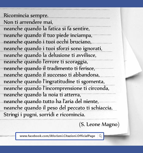 Ricomincia... - Frasi Famose su http://www.Messaggi-Online.it